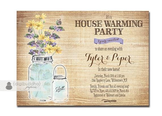 House Warming Party Invitation Template Mason Jar Housewarming Invitation Rustic Wood Watercolor