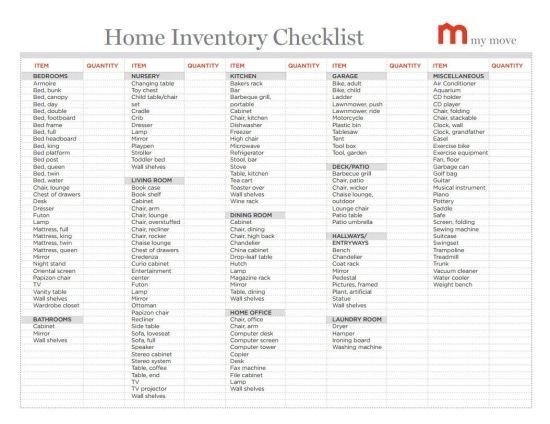 Household Inventory List Template Best 25 Moving Checklist Printable Ideas On Pinterest