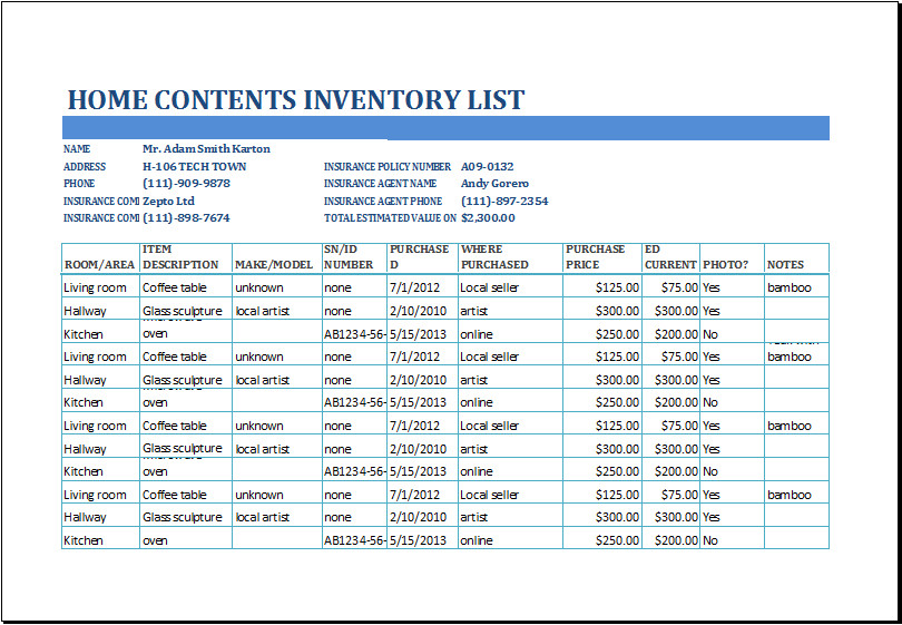 Household Inventory List Template Excel Home Contents Inventory List Template