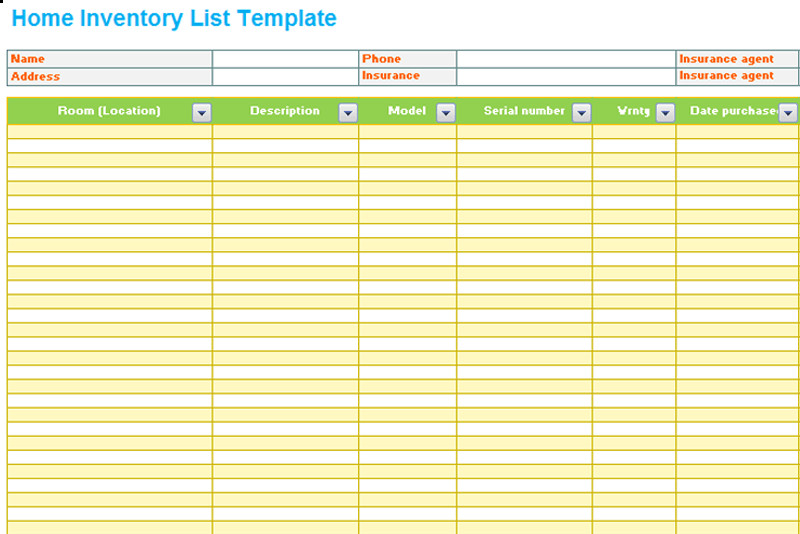 Household Inventory List Template Home Inventory List Template Dotxes