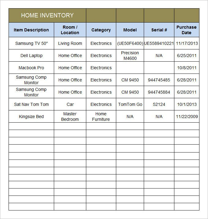 Household Inventory List Template Home Inventory Template 15 Free Excel Pdf Documents