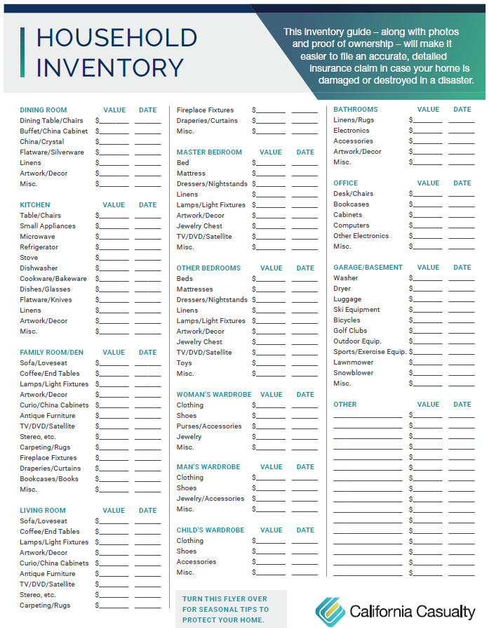 Household Inventory List Template Household Inventory Checklist California Casualty
