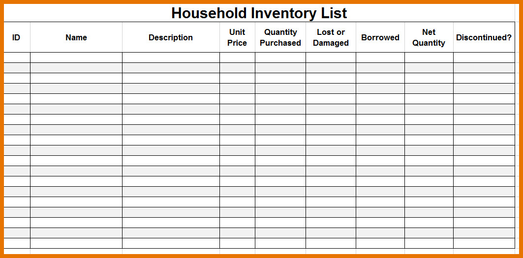 Household Inventory List Template Household Inventory List Template