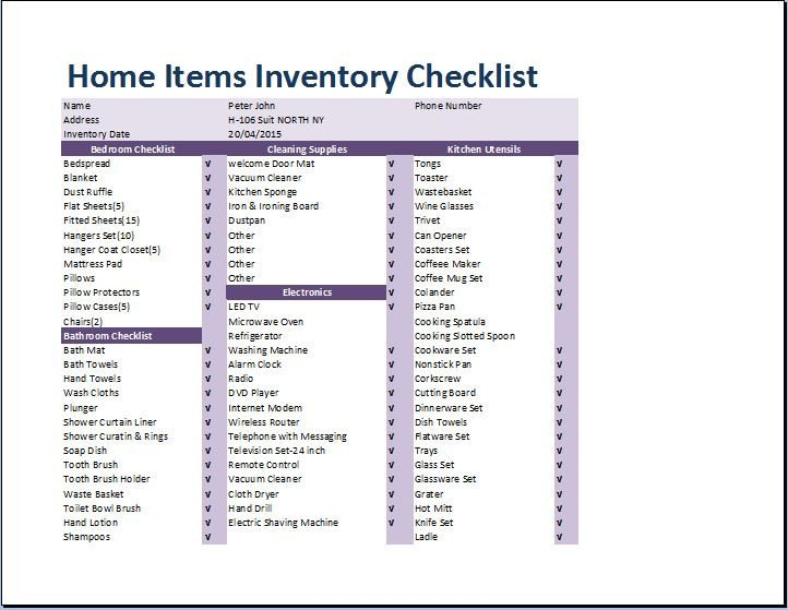Household Inventory List Template Prehensive Home Inventory Checklist Template