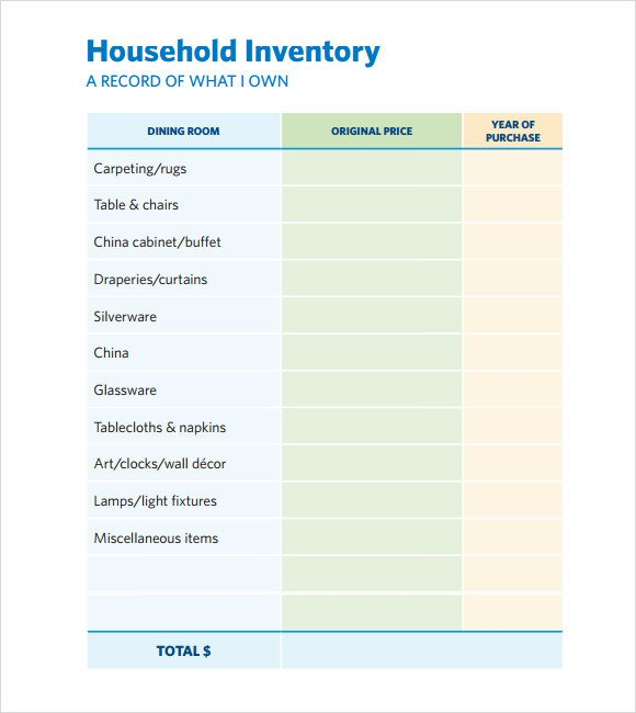 Household Inventory List Template Sample Home Inventory Template Free Documents Download