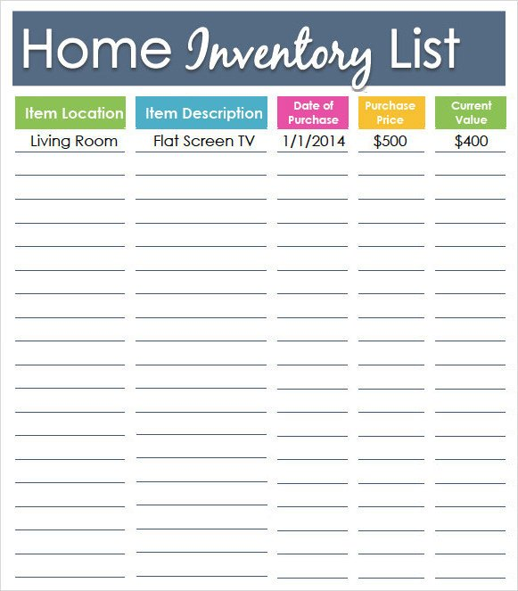 Household Inventory List Template Sample Inventory List Template 9 Free Documents