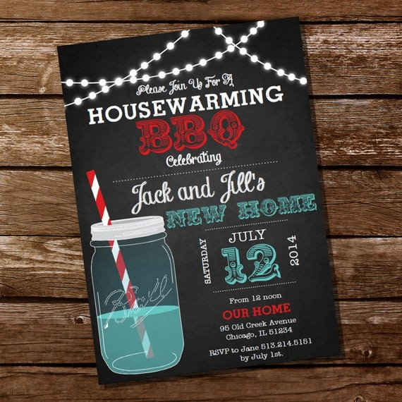Housewarming Party Invitations Templates Chalkboard Housewarming Bbq Invitation Housewarming Party