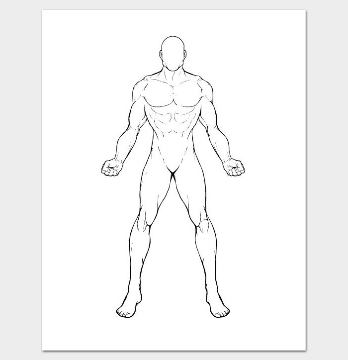 Human Body Outline Drawing Body Outline Template 27 Printable Pdf formats Dotxes