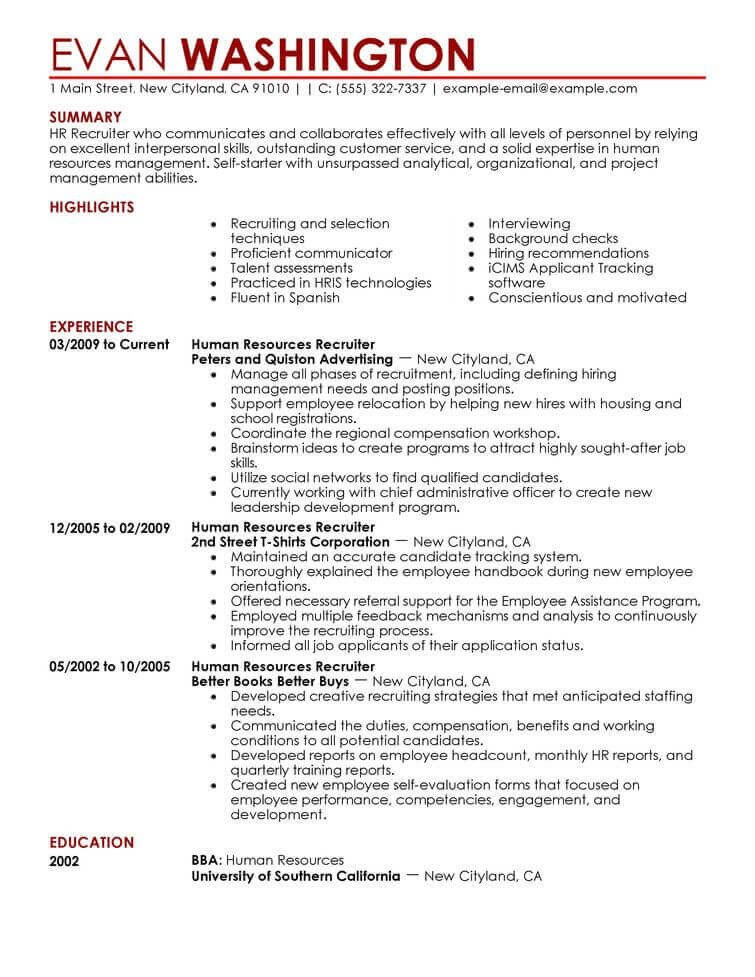 Human Resources Resume Template Amazing Human Resources Resume Examples