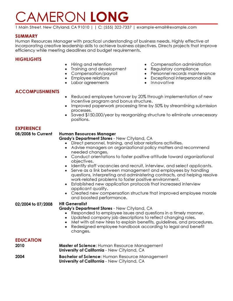 Human Resources Resume Template Best Human Resources Manager Resume Example