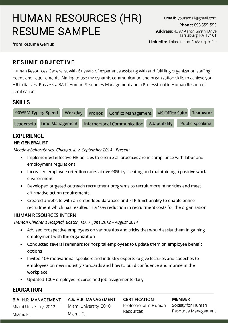 Human Resources Resume Template Human Resources Hr Resume Sample & Writing Tips