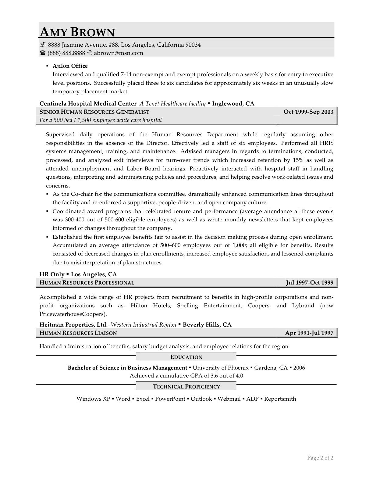 Human Resources Resume Template Human Resources Resume Examples Resume Professional Writers