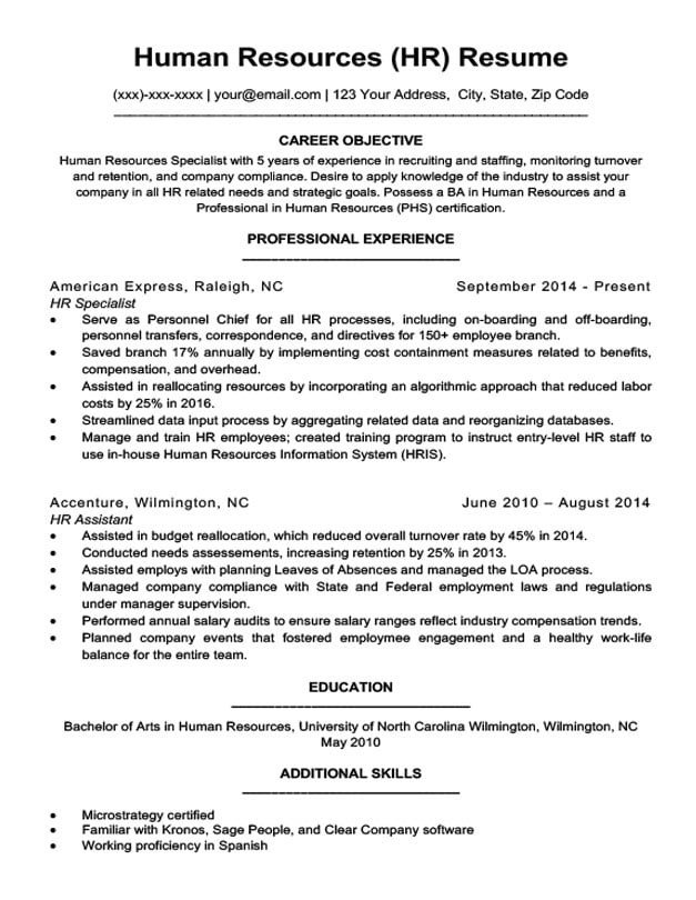 Human Resources Resume Template Human Resources Resume Sample & Writing Tips