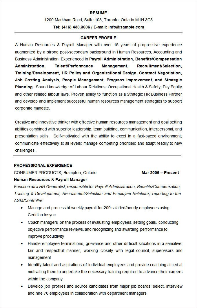 Human Resources Resume Template Microsoft Word Resume Template – 99 Free Samples
