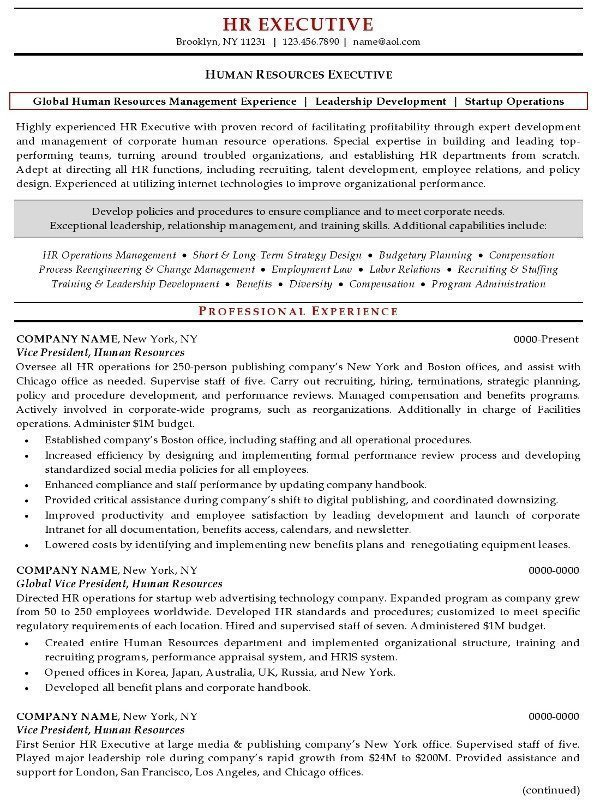 Human Resources Resume Template Resume Sample 20 Human Resources Executive Resume