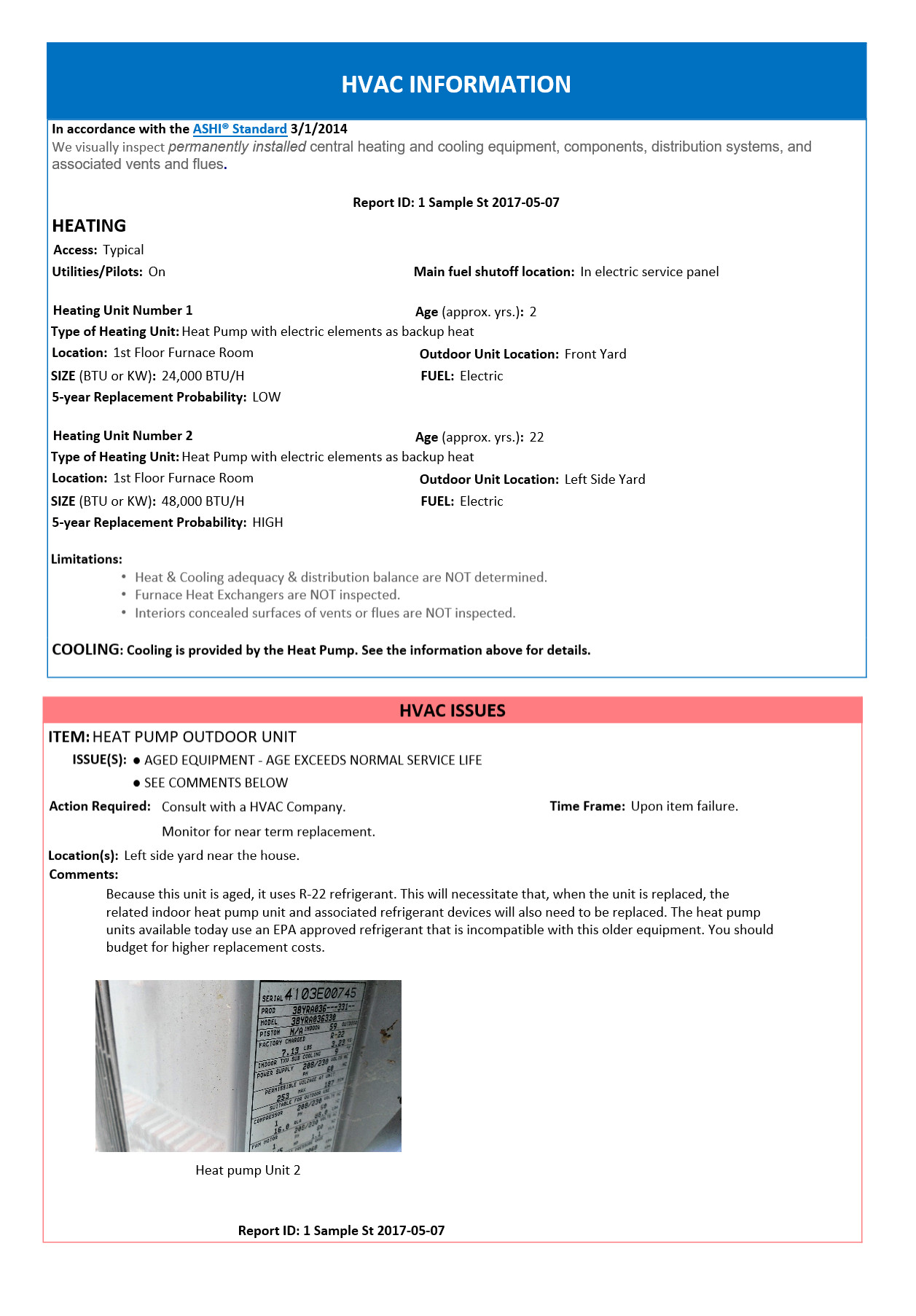 Hvac Inspection Report Template Home Inspection Report – Hvac Page – Home Inspection