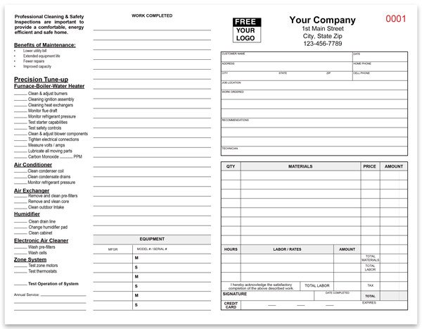 Hvac Inspection Report Template Hvac Safety Inspection and Cleaning Invoice