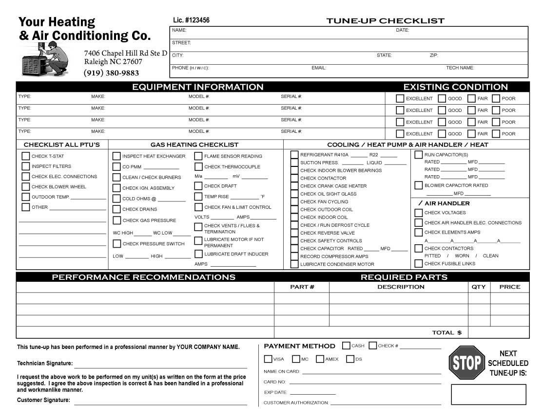 Hvac Inspection Report Template Image Result for Customer order form Checklist for