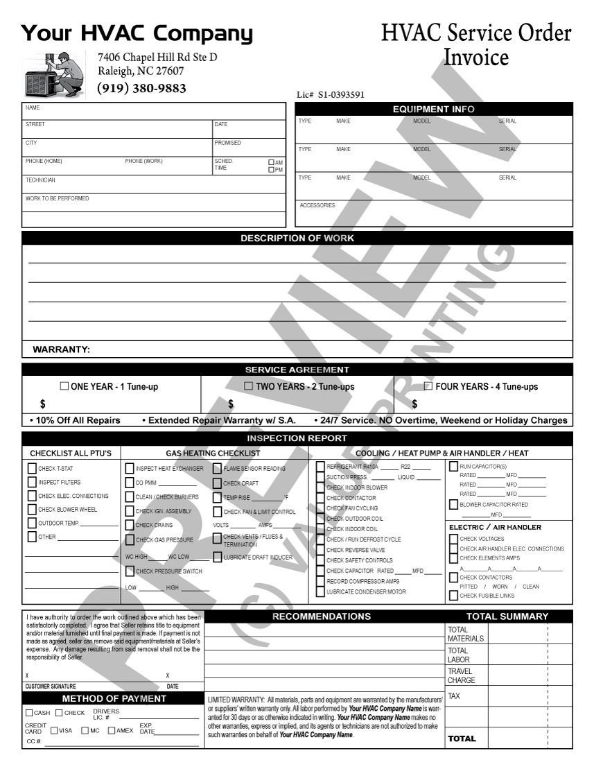 Hvac Installation Contract Template Here is A Tune Up Checklist Invoice that Does Double Duty