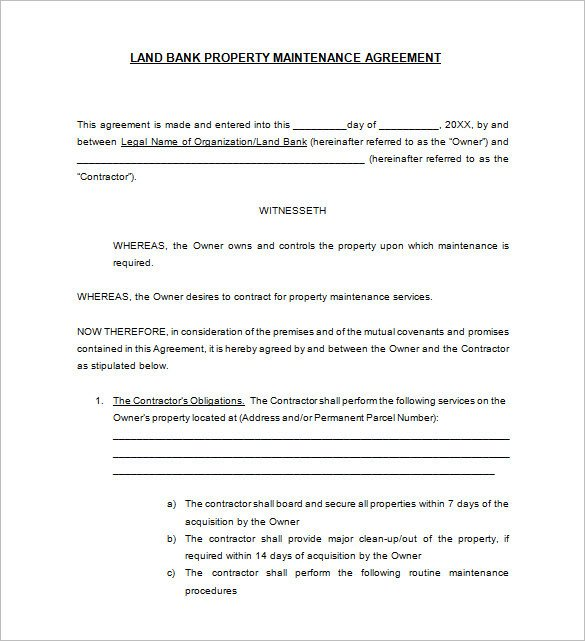 Hvac Installation Contract Template Maintenance Agreement Template
