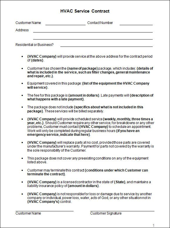 Hvac Installation Contract Template Sample Hvac Services Contract