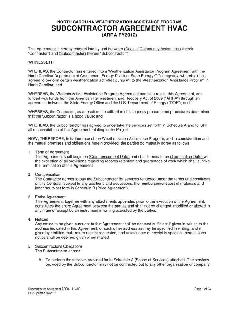 Hvac Maintenance Contract Template 9 Hvac Contract Templates for Services Pdf Word