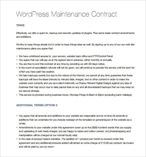 Hvac Maintenance Contract Template Maintenance Contract Template 20 Download Documents In