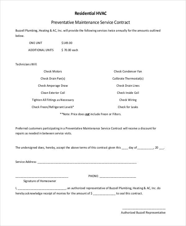 Hvac Maintenance Contract Template Sample Residential Service Contract 5 Documents In Pdf