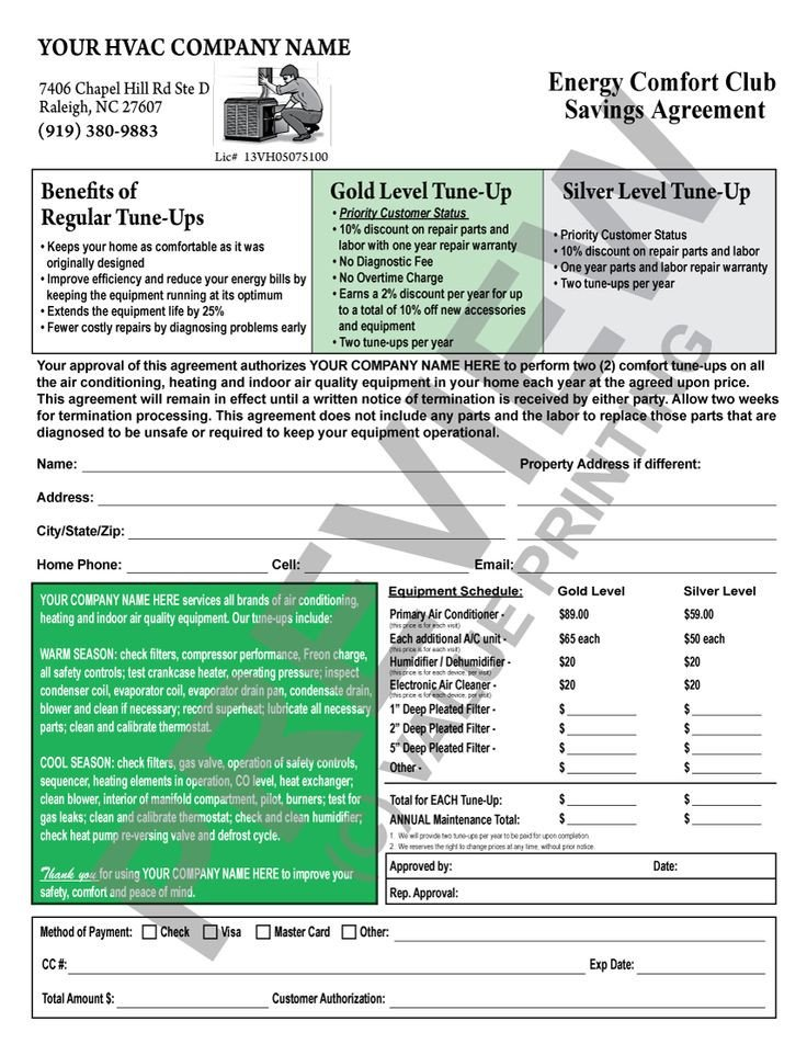 Hvac Maintenance Contract Template This Hvac Maintenance Contract Has A Backside Terms and