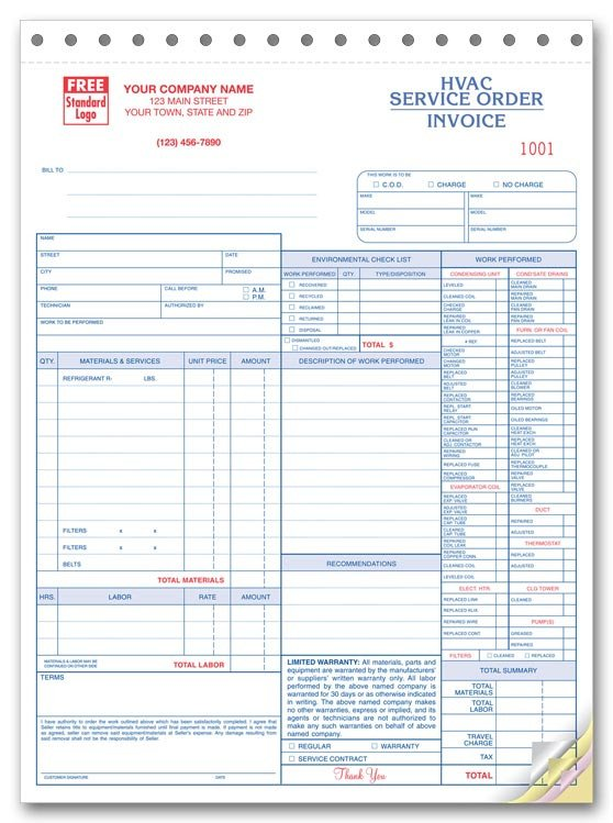 Hvac Work order Template 6501 A K A 6501 3 Hvac Service order forms with Checklist