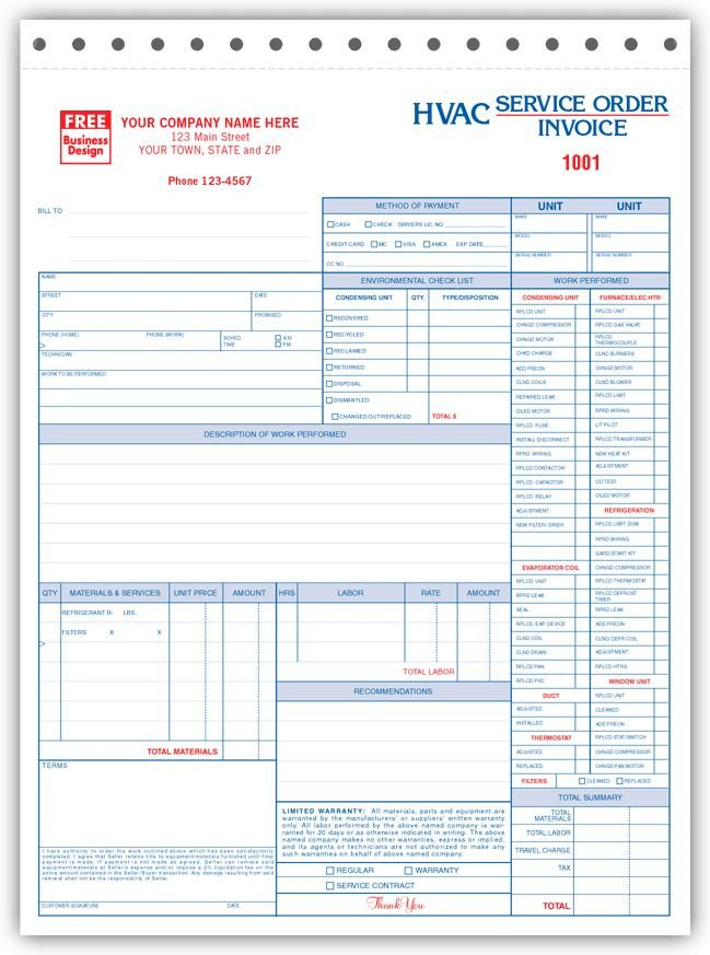 Hvac Work order Template Free Invoice forms Hvac