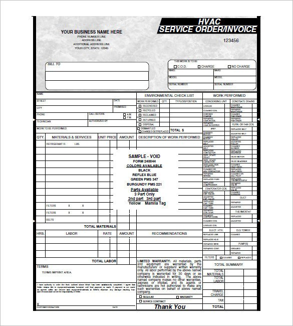 Hvac Work order Template Hvac Invoice Template 6 Free Word Pdf format Download