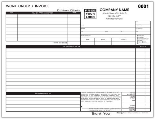 Hvac Work order Template Hvac Service Invoices