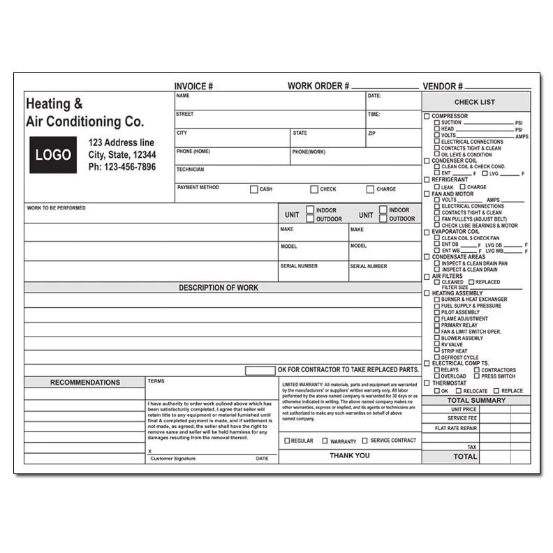 Hvac Work order Template Product Details