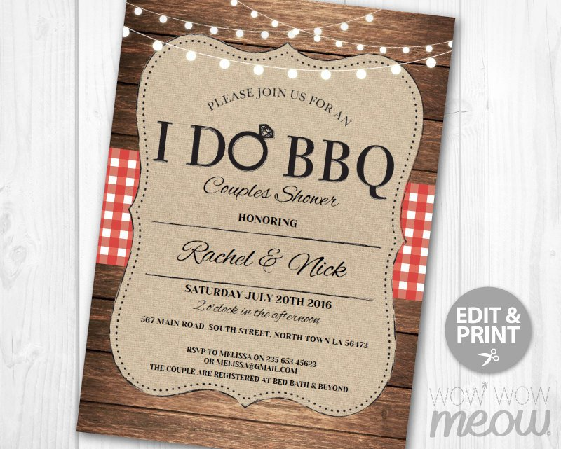 I Do Bbq Invitations I Do Bbq Invitation Couples Shower Printable Invite Engagement