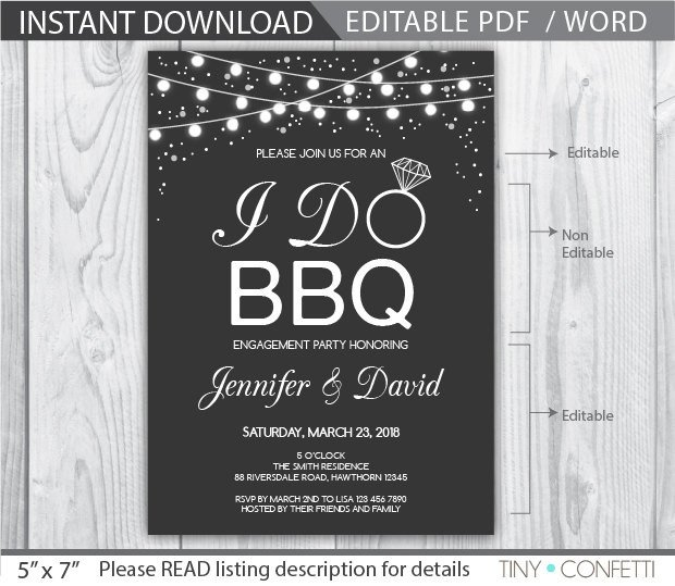 I Do Bbq Invitations I Do Bbq Invitation I Do Bbq Couples Shower I Do Bbq