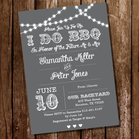 I Do Bbq Invitations I Do Bbq Lnvitation Gray Engagement Invitation Instantly