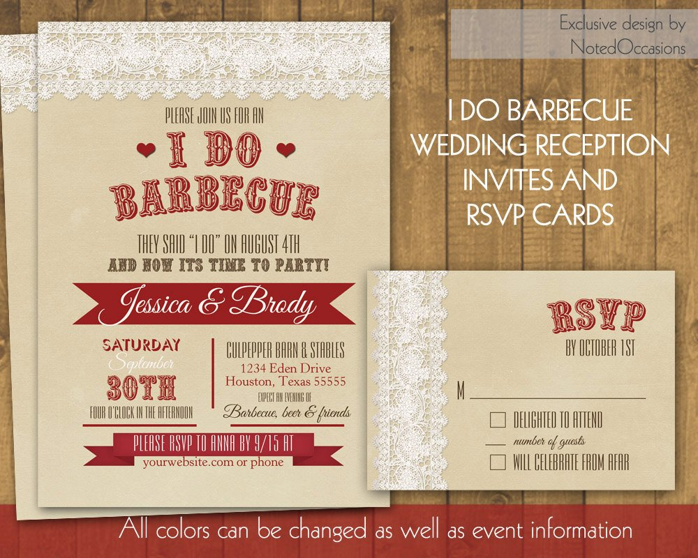 I Do Bbq Invitations I Do Bbq Wedding Reception Invitation Rustic I by