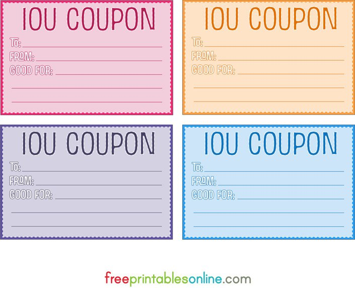 I Owe You Template Colorful Free Printable Iou Coupons Free Printables Line