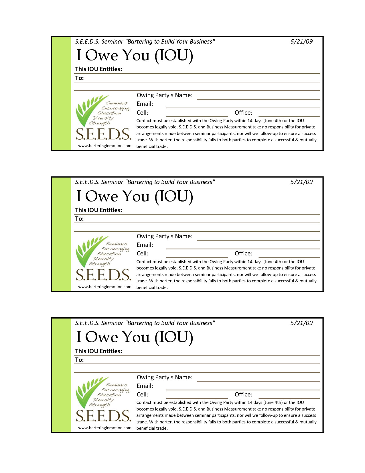 I Owe You Template Iou Template Free Printable Documents