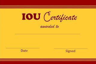 I Owe You Template Select and Print Iou Certificates and Cards Fresh Designs