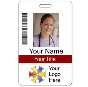 Id Badge Template Free Online Id Custom 2 Lines Text Bar Code & Logo Name Tag