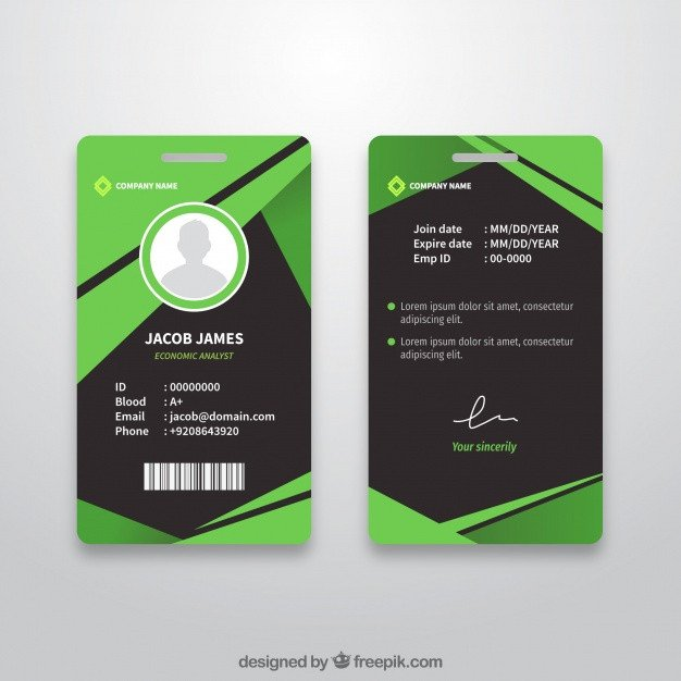 Id Card Template Free Abstract Id Card Template with Flat Design Vector