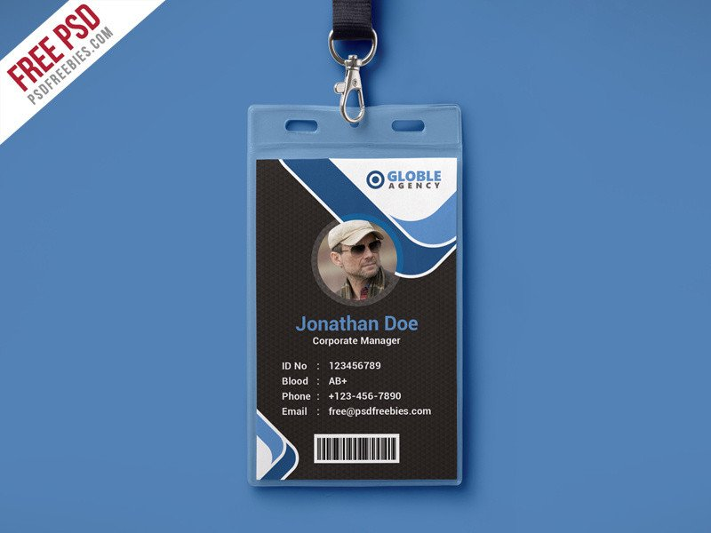 Id Card Template Free Free Psd Multipurpose Dark Fice Id Card Psd Template