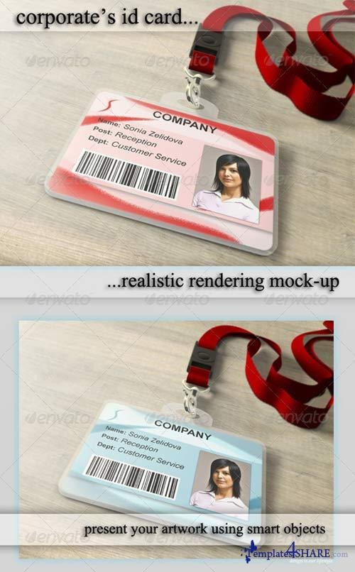 Id Card Template Photoshop Graphicriver Id Card Holder Mockup Templates4share
