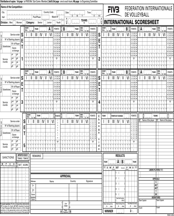 Ihsa Volleyball Lineup Sheet Download Ficial Volleyball Scoresheet for Free