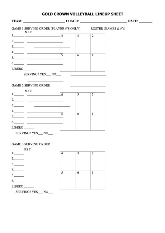 Ihsa Volleyball Lineup Sheet Gold Crown Volleyball Lineup Sheet Printable Pdf