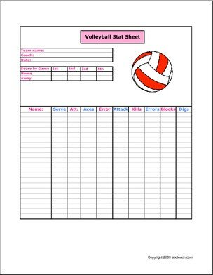 Ihsa Volleyball Lineup Sheet Printable Volleyball Stat Sheets Pokemon Go Search for