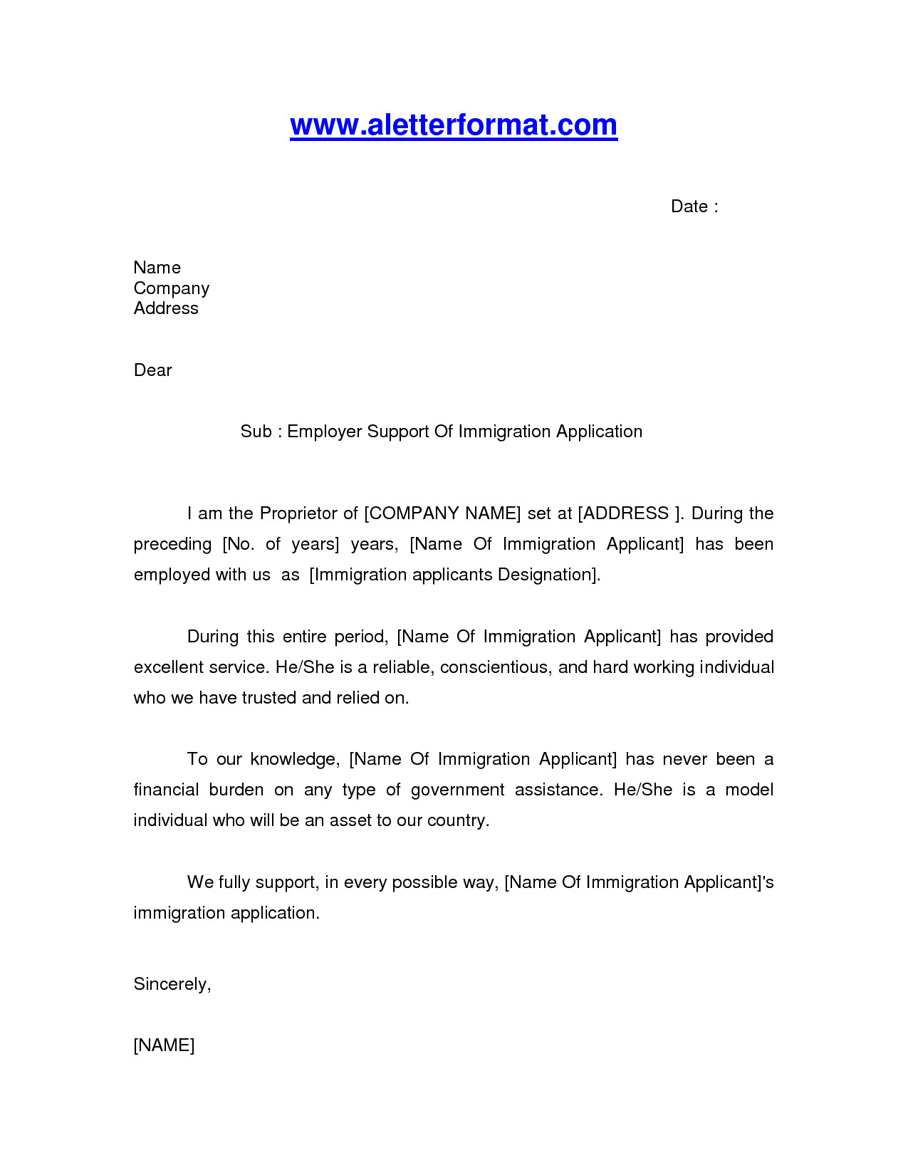 Immigration Letter Of Support Immigration Letter Sample Google Search