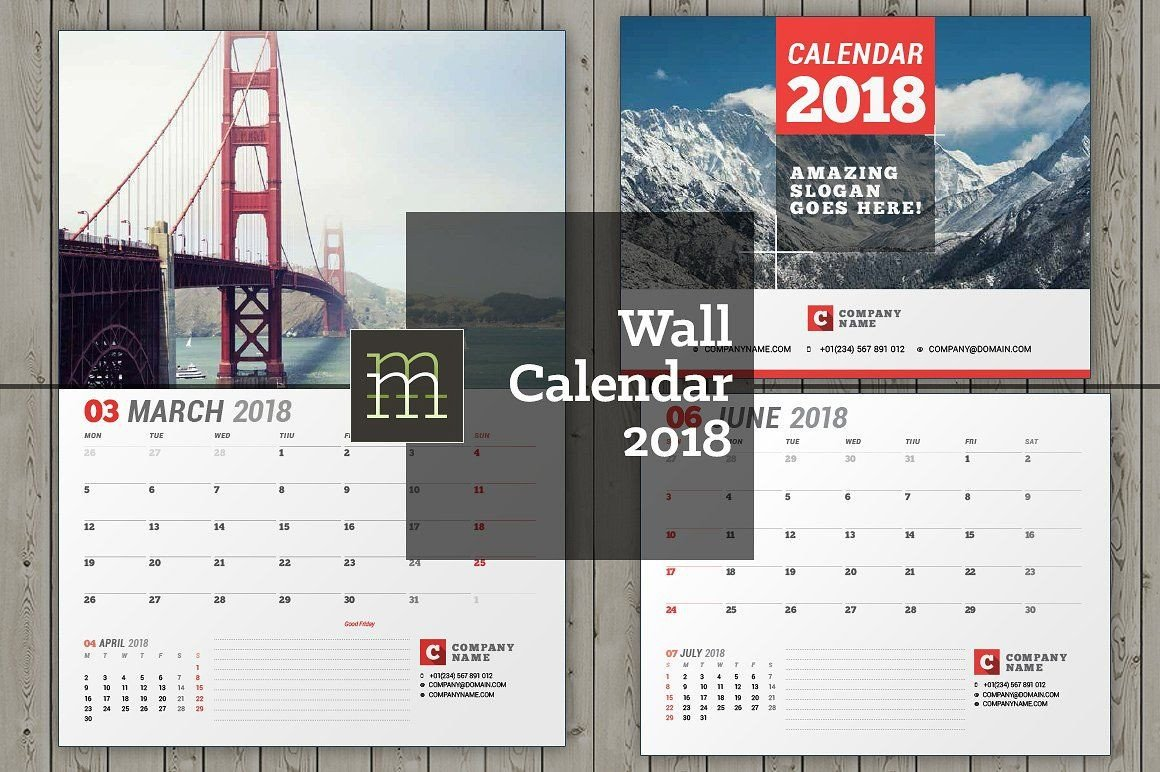 In Design Calendar Templates Wall Calendar for 2018 Year Fully Editable Layered